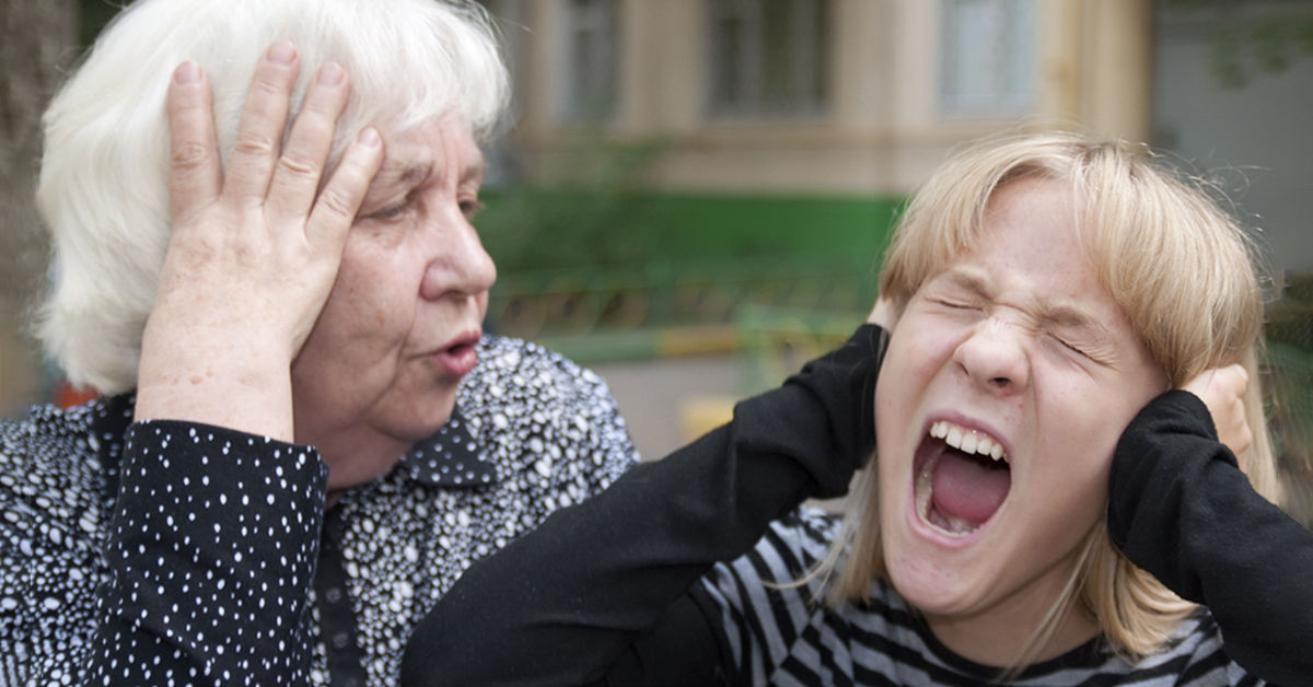 grandmother, girl screams, hearing aid
