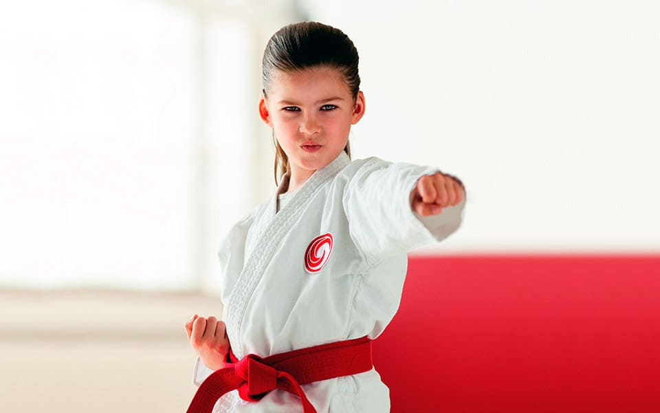 a deaf girl is engaged in karate